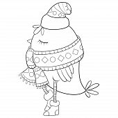 Christmas Bird Wearing A Cap,scarf And Boots  With Ornaments Illustration For Adults.adult Coloring  poster