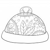 Adult Coloring Book,page A Christmas Cap With Ornaments Image For Relaxing.zen Art Style Illustratio poster