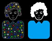 Bright Mesh Bureaucrat Lady Icon With Sparkle Effect. Abstract Illuminated Model Of Bureaucrat Lady. poster