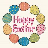 Happy Easter. Cute Inscription In A Wreath Of Easter Eggs. Outline Inscription Inside A Circle Of Ea poster