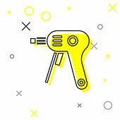 Grey Line Electric Hot Glue Gun Icon Isolated On White Background. Hot Pistol Glue. Hot Repair Work  poster