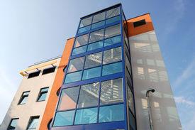 stock photo of medical office  - modern high clinic office building in Vilnius - JPG