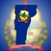 foto of burlington  - Map of Vermont filled with the state flag - JPG