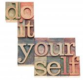 do it yourself, popular culture phrase - isolated text in vintage letterpress wood type printing blo