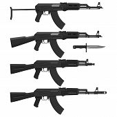 pic of ak47  - Layered vector illustration of different Assault rifles - JPG