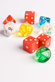 picture of dodecahedron  - Multicolored role play dice isolated on white - JPG