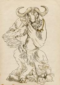 stock photo of minotaur  - An hand - JPG