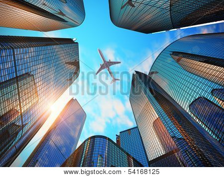 Business district with modern skyscrapers poster