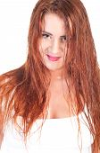 pic of wet t-shirt  - Sexy red hair woman in wet white t shirt - JPG