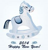 Wooden Blue Rocking Horse On A White Background. The Symbol Of The New Year 2014. Vector Illustratio