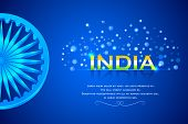 picture of ashok  - easy to edit vector illustration of India Background with Ashok Chakkra - JPG