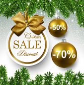 Sale golden round labels. Christmas balls over starry background with fir branches. Vector illustrat
