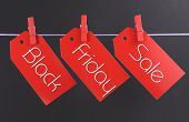 picture of friday  - Black Friday shopping sale concept with message written across red ticket sale tags hanging from pegs on a line - JPG