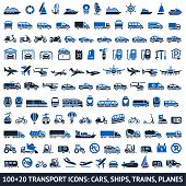 foto of ski boat  - 100 AND 20 Transport blue icons - JPG