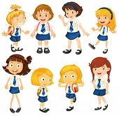stock photo of playmates  - Illustration of the eight schoolgirls in their uniforms on a white background - JPG