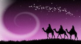 stock photo of magi  - an illustration of Magi following the star of Bethlehem - JPG
