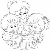 image of grandmother  - Grandmother reading a book to her little granddaughter and grandson - JPG