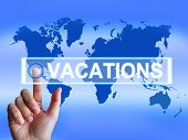 stock photo of sabbatical  - Vacations Map Meaning Internet Planning or Worldwide Vacation Travel - JPG