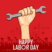 picture of labourer  - illustration of Labor Day concept with man holding wrench - JPG