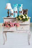 stock photo of dowry  - Wedding accessories for the morning the bride in pink  - JPG