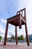 pic of landmines  - Geneva broken chair in front of the united nation building  - JPG
