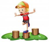 stock photo of headgear  - Illustration of a young boy playing with the stump on a white background - JPG