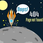 picture of not found  - Concept of not found error message with crush of rocket - JPG