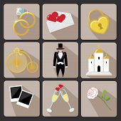 picture of wedding feast  - Vintage Vector Design wedding icons for Web and Mobile - JPG
