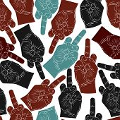 image of sarcasm  - Middle finger hands seamless pattern - JPG
