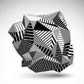 image of asymmetric  - Decorative complicated unusual eps8 figure constructed from triangles with parallel black lines - JPG
