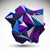 stock photo of asymmetric  - Decorative complicated unusual eps8 figure constructed from triangles with parallel black lines - JPG