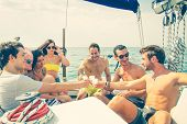 foto of boat  - People on a yatch  - JPG
