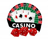 picture of roulette table  - Casino emblem or badge with a roulette table and playing cards above a banner saying Casino and three red dice - JPG