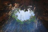 stock photo of stalagmite  - Hole in Batu Cave at Kuala - JPG