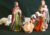 foto of manger  - Mary and Joseph with the child Jesus in the manger with a shepherd - JPG