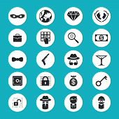 pic of illegal  - Black and White Illegal Activities Icons Isolated on Blue Green Background - JPG