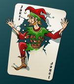 Постер, плакат: Cartooned Joker Jumping Out From Playing Card