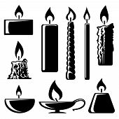 stock photo of conic  - Set of black and white silhouette burning candles in different shapes with a spiral  conical  taper  cylindrical and lamp depicting  aromatherapy  spirituality  religion  commemorative and party - JPG