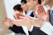 picture of applause  - Photo of business partners hands applauding at meeting - JPG