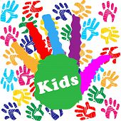 stock photo of youngster  - Kids Handprint Meaning Colours Youngsters And Colour - JPG
