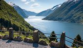 stock photo of fjord  - scenic landscapes of the northern Norwegian fjords - JPG