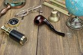 picture of spyglass  - Traveler Wood Table With Many Necessary Items - JPG