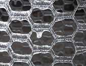 picture of chicken-wire  - Heavy coating of ice on a thin wire fence