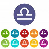 image of libra  - Libra web flat icon in different colors - JPG