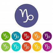 image of capricorn  - Capricorn web flat icon in different colors - JPG