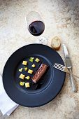 image of duck breast  - Duck breast quinces corn puree with lemon - JPG