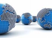 foto of binary code  - Globes with binary code - JPG