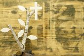 foto of birchwood  - Background of used wood with birchwood and wooden cross - JPG