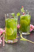 image of iced-tea  - Healthy Iced Matcha Tea with lime - JPG