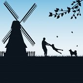 picture of father child  - Silhouettes of a happy family of the father and the child on blue background - JPG